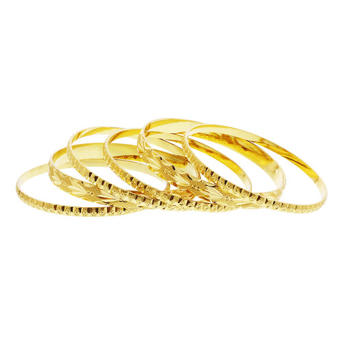 Gold Plated Carved Design Thick and Thin Bollywood Indian Bangle Bracelets Set of 6