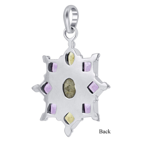 Sterling Silver Floral Opal and Multi Gemstone Pendant