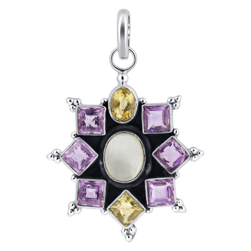 925 Silver Floral Setting Opal and Multi Gemstone Pendant