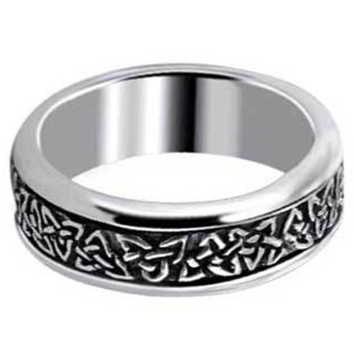 Men's 925 Silver Engraved Celtic Endless Spinning Band