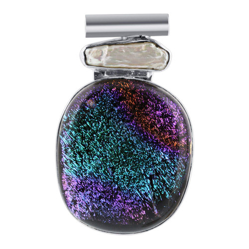 925 Sterling Silver Purple and Green Druzy Glass Pendant