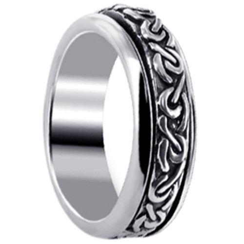 Men's 925 Silver 6mm Celtic Knot Design Spinning Band