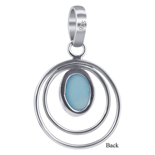 925 Sterling Silver Oval Aqua Chalcedony Gemstone Pendant