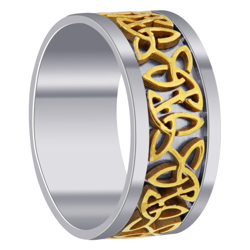 Men's Stainless Steel and Gold Tone Designer 9mm Band