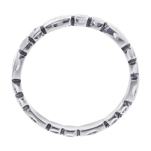 Sterling Silver Faceted Cut 2mm Band