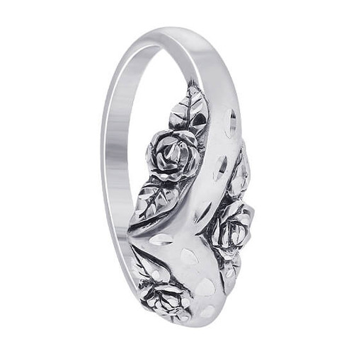 925 Silver Crown Surrounded by Roses Flower Thumb Ring