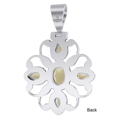 925 Sterling Silver Citrine Gemstone Pendant