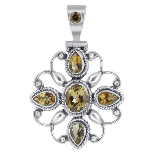 Citrine November Birthstone Gemstone 925 Silver Pendant