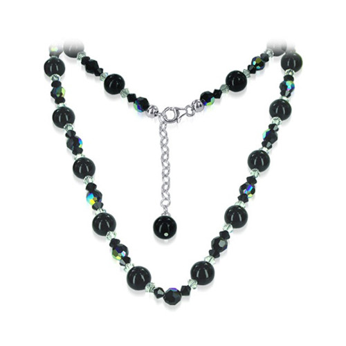 Nugget Pearl with Swarovski Elements Black Crystal Lobster-Claw-Clasp Sterling Silver Necklace