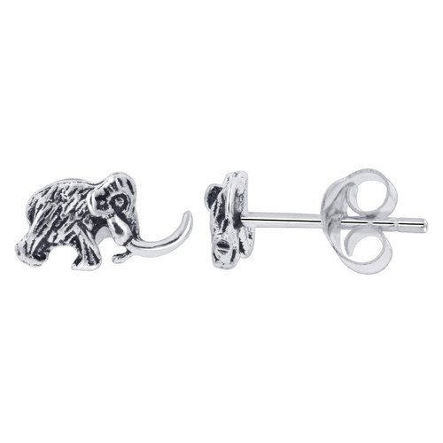 925 Silver 5 x 9mm Mammoth Stud Earrings with Fur and Tusk