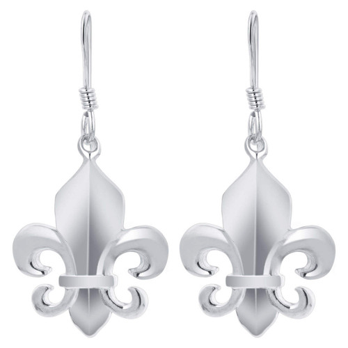 925 Silver 1.3 x 0.6 inch Fleur De Lis hand Made Earrings