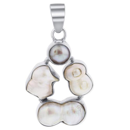 925 Silver Baroque Freshwater Coin Pearl 2x1.1 inch Pendant