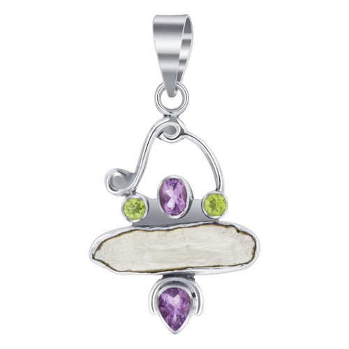 925 Silver Freshwater Coin Pearl 2.2 x 1.2 inch Pendant