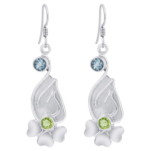 925 Silver Blue Topaz Peridot Floral Bali Drop Earrings