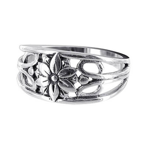 925 Sterling Silver Filigree Floral Design Ring #LWRS152