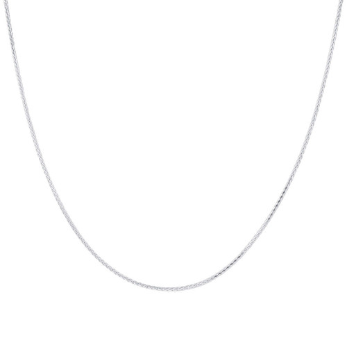 Sterling Silver Rhoidum Plated 1mm Spiga Wheat Chain Necklace