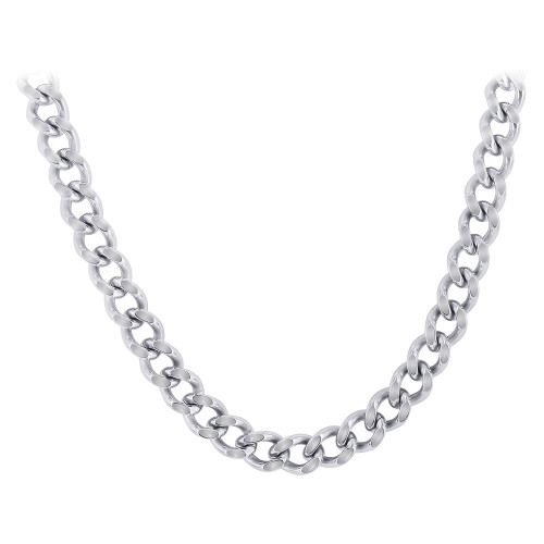 Men's Stainless Steel 7mm wide Curb Link Chain Necklace