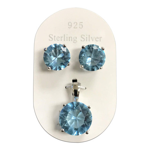 Rhodium Plating 925 Silver Aquamarine jewelry Set