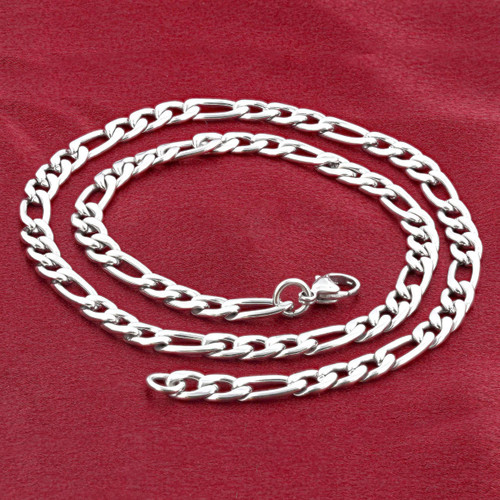 Men's Stainless Steel 4mm Figaro Chain Necklace