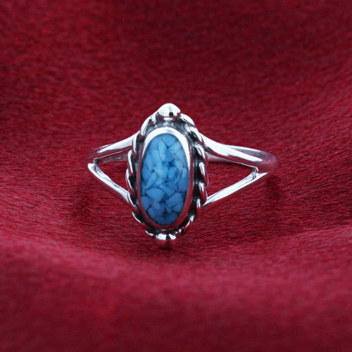 925 Silver Blue Turquoise Chip Inlay Oval Shape Bali Ring