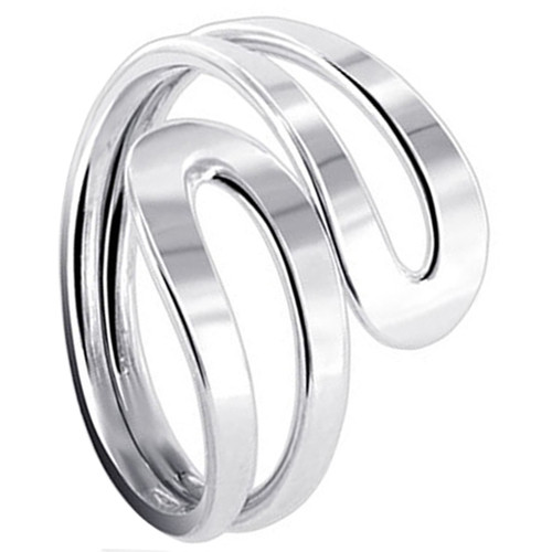 925 Sterling Silver Polished Finish Overlapping Ring