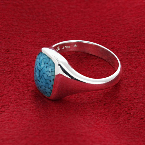 Men's 925 Silver Simulated Blue Turquoise Rectangle Band Ring