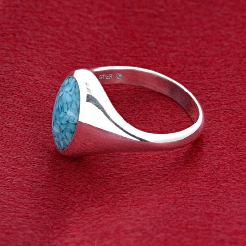 Men's 925 Silver Simulated Blue Turquoise Oval Chip Inlay Band Ring