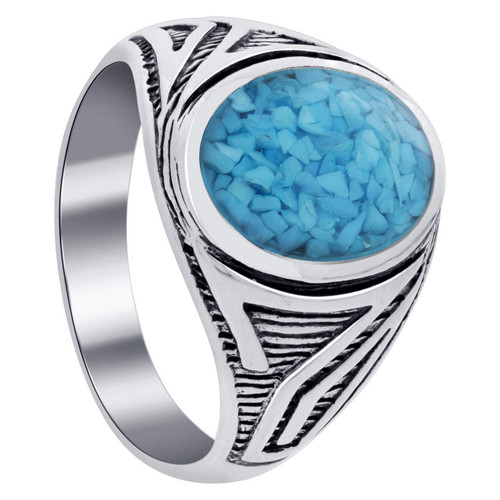 Men's Turquoise Gemstone Antique Design Sterling Silver Ring