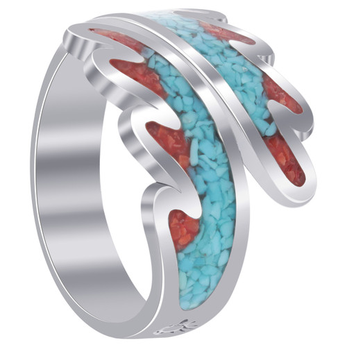 Sterling Silver Turquoise & Coral Gemstone Chip Inlay Wave Design Ring Size 9