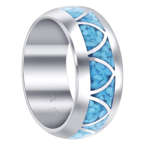 Men's Blue Turquoise Gemstone Arch Inlay Wide Sterling Silver Band Ring