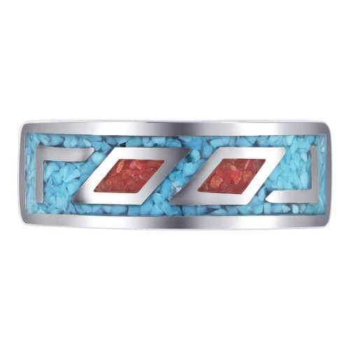 Blue Turquoise and Coral Gemstone Band