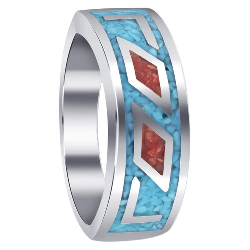 Men's Turquoise and Coral Gemstone Inlay Sterling Silver Band Ring