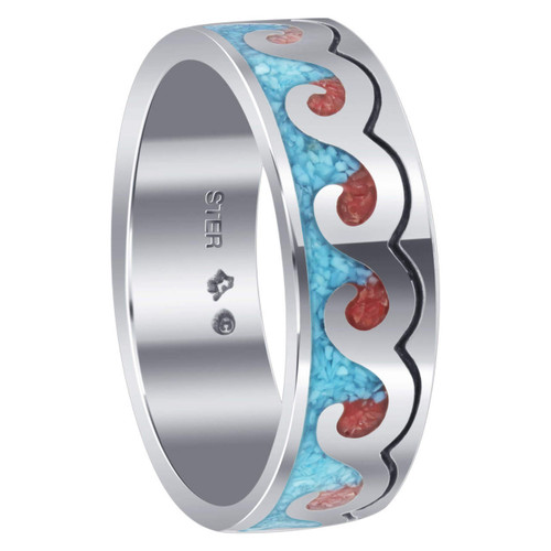 925 Silver Turquoise and Coral Gemstone Inlay Wave Design Mens Ring