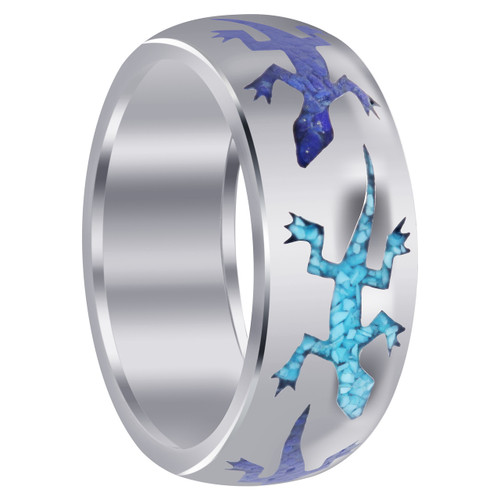 Men's Sterling Silver Lizard Blue Turquoise and Lapis Gemstone Inlay Band Ring