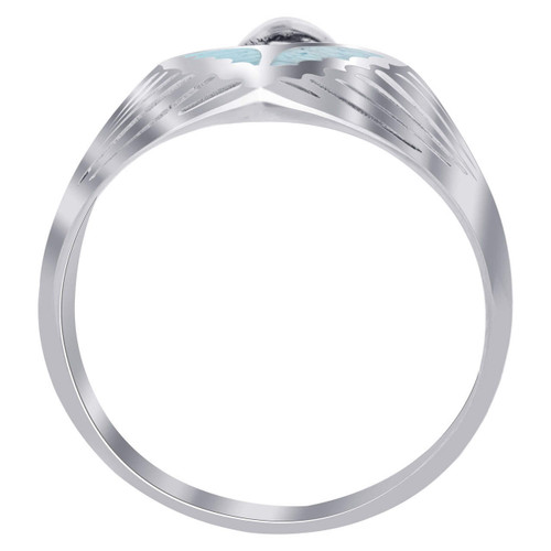 Men's Sterling Silver Turquoise Inlay Southwestern Style Mens Ring