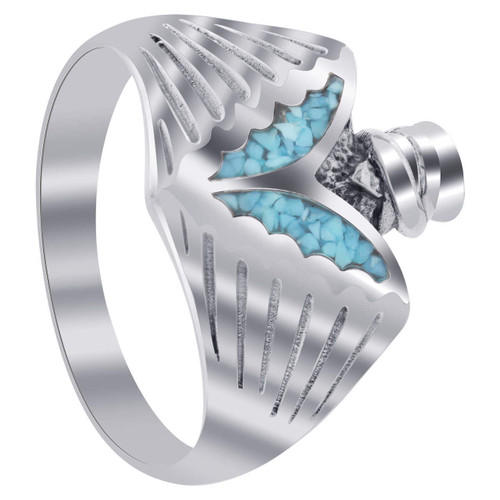 Men's Southwestern Style Blue Turquoise Gemstone Inlay Sterling Silver Ring