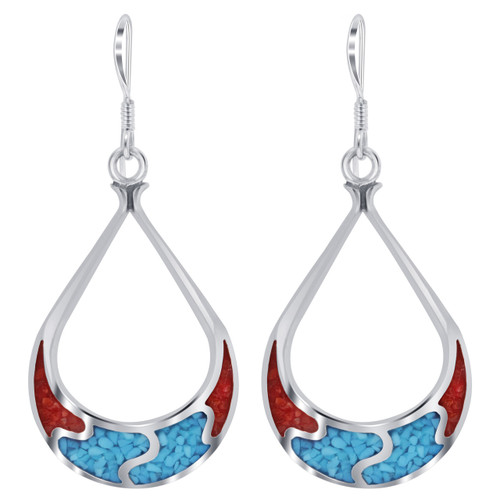 Turquoise & Coral Drop Earrings