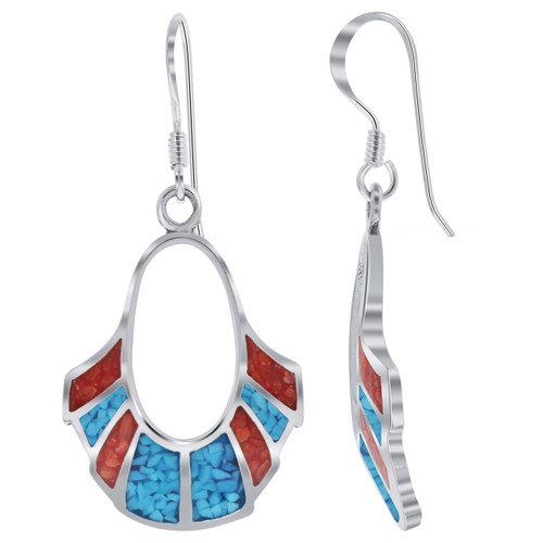 Oval Shape Turquoise and Coral Gemstone Inlay Sterling Silver Drop French Wire Earrings