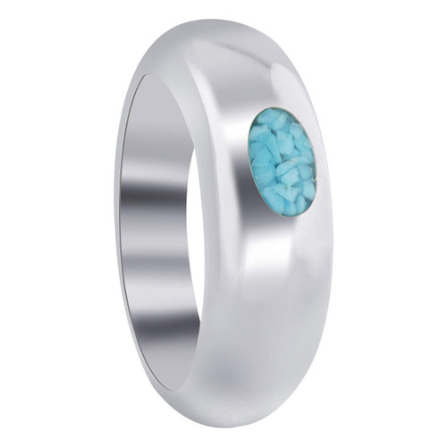 925 Sterling Silver Simple Oval Turquoise Gemstone Inlay Band