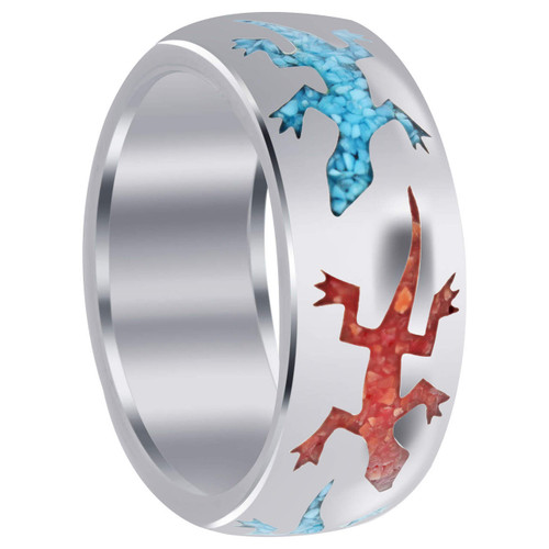 Mens 925 Silver Turquoise & Coral Lizard Pattern 9mm Band