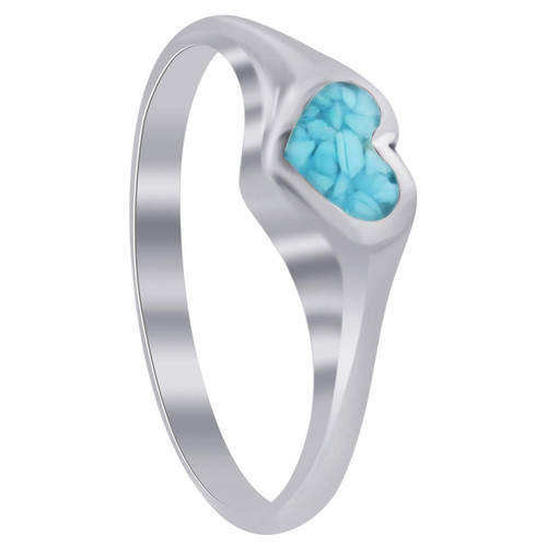 Heart Shape Turquoise Gemstone Chip Inlay Southwestern Style Sterling Silver Ring