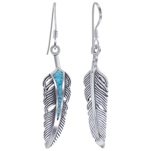 Turquoise Gemstone Feather Design Drop Earrings