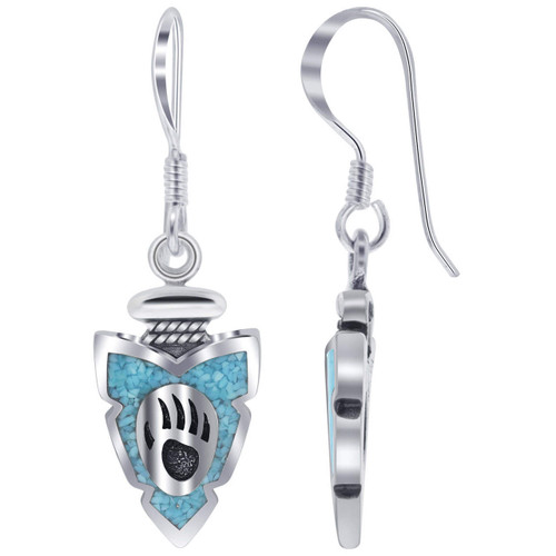 Turquoise Gemstone Inlay Bear Paw 925 Sterling Silver Drop Earrings with French Wire Hooks