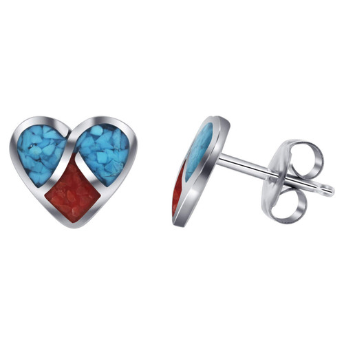 Heart Design Turquoise and Coral Gemstone Inlay Stud Sterling Silver Earrings
