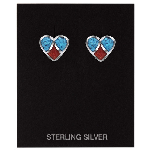 925 Silver Turquoise and Coral Inlay Heart 10mm Stud Earrings