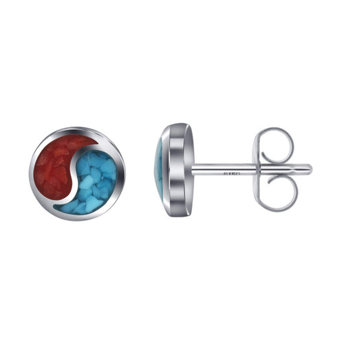 Yin-Yang Design Turquoise and Coral Gemstone Sterling Silver Stud Earrings