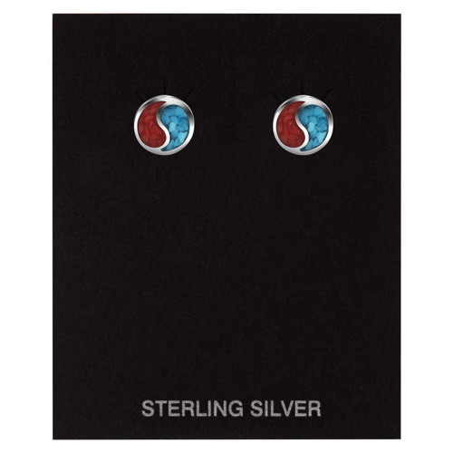 Turquoise & Coral Inlay Yin-Yang Stud Earrings