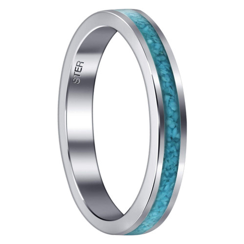 Unisex Sterling Silver Turquoise Gemstone Chip Inlay 4 mm Band