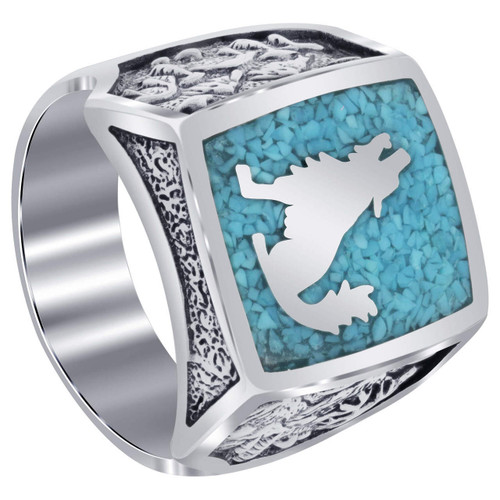Men's Sterling Silver Turquoise Gemstone Southwestern Style Wolf Ring