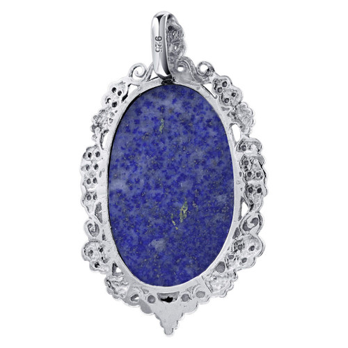 Cabochon Blue Lapis Lazuli Pendant in Sterling Silver